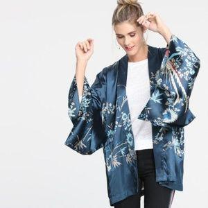 Navy Phoenix Open Front Kimono L\XL